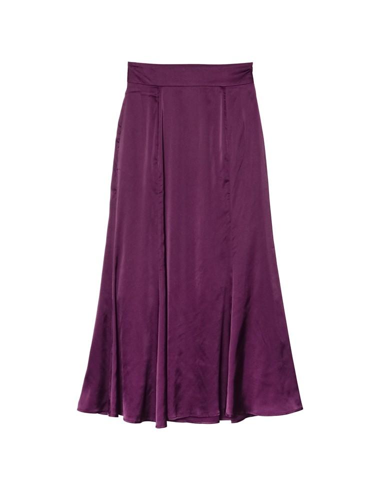 [低身長向けSサイズ対応]サテンナローロングスカート