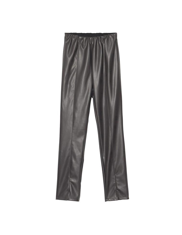 [サステナブル][低身長向け/高身長向けサイズ対応]ヴィーガンレザーセンタースリットレギンス